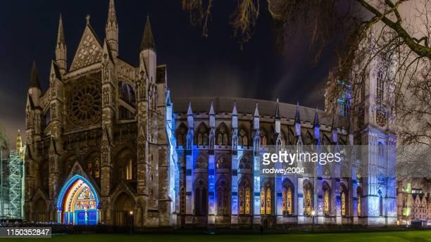 westminster abbey at night - 映写 ストックフォトと画像
