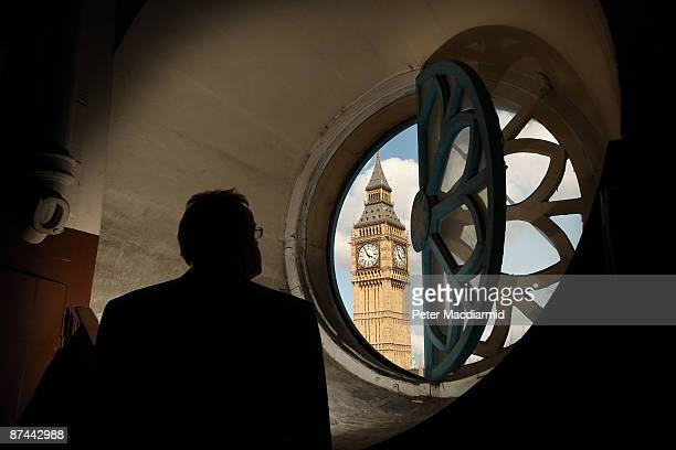 Westminster Abbey employee looks at Clock Tower also known as Big Ben from a window in the bell tower of St Margaret's Church on May 15 2009 in...