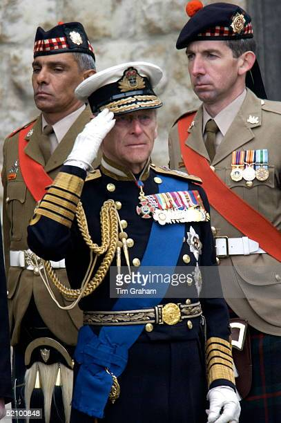 Westminster Abbey For The Funeral Of The Queen Mother Who Had Lived To The Age Of 101 Prince Philip In Naval Uniform Saluting