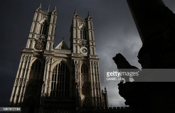 Westminster Abbey is bathed in autumnal sunlight in London on December 3 2018 Britain's Prime Minister Theresa May said last week it was up to MPs to...