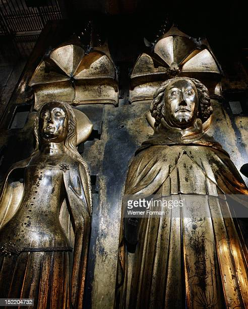 Westminster Abbey Tomb effigies of Richard II and his first Queen Anne of Bohemia Made in 1395 by Nicholas Broker and Godfrey Priest England Gothic...