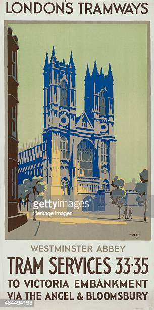 'Westminster Abbey Tram Services 33 35 to Victoria Embankment via the Angel and Bloomsbury' London County Council Tramways poster 1926