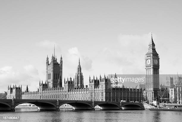Westminster and Houses of Parliament, black & white, copy space