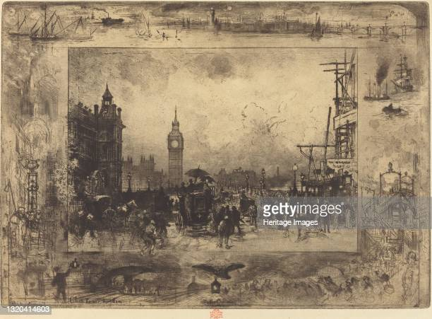 Westminster Bridge, 1884. Artist Felix Hilaire Buhot.