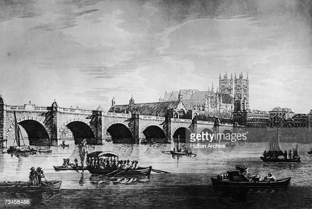 Westminster Bridge across the River Thames in London with the Palace of Westminster or Houses of Parliament on the far side circa 1790 From an...