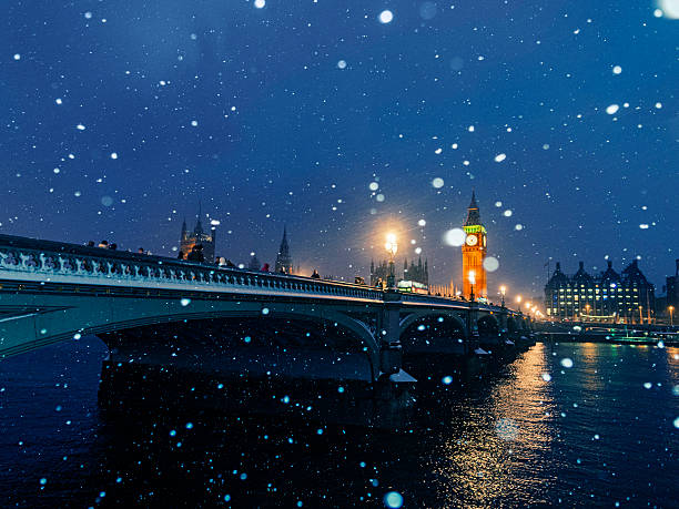 Westminster Bridge And Big Ben In Snow, London,UK Wall Art