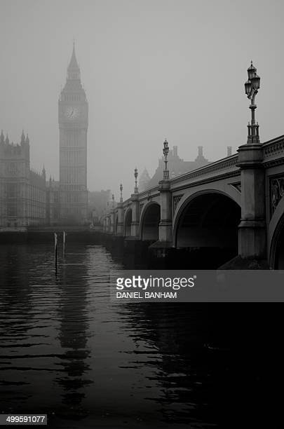 Westminster bridge and Big Ben in the fog