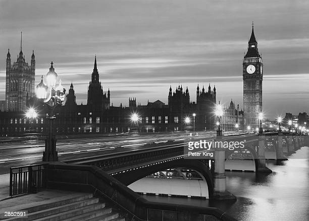 Westminster Bridge and the Houses of Parliament by night 31st January 1973