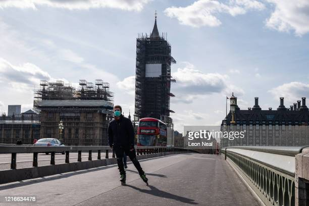 Westminster Bridge is seen during what would be a busy time of day for traffic tourists and commuters on April 03 2020 in London United Kingdom The...