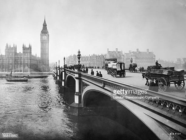 Westminster Bridge London with the Palace of Westminster and the clocktower of Big Ben in the background circa 1890