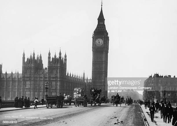 Westminster Bridge London with the Palace of Westminster and the clocktower of Big Ben in the background circa 1892