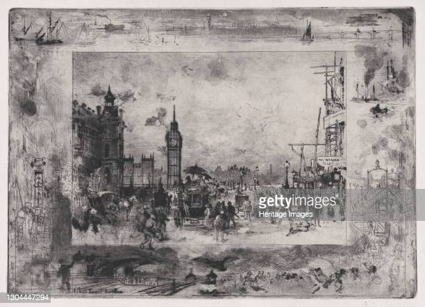 Westminster Bridge, or Westminster Clock Tower, 1860-98. Artist Felix Hilaire Buhot.