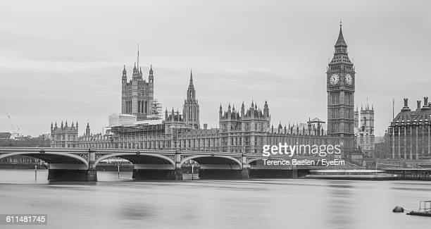 Westminster Bridge Over Thames River By Big Ben In City