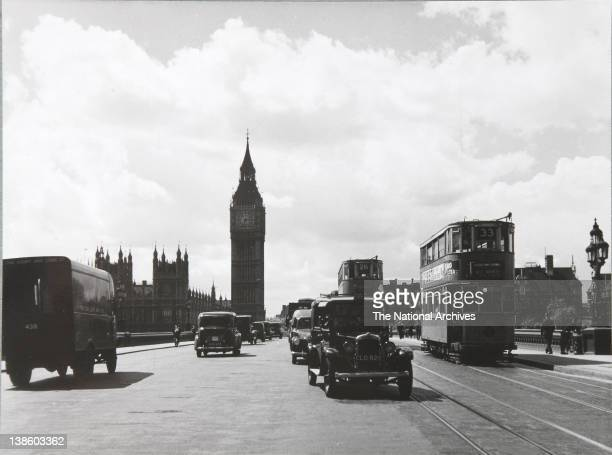 Westminster Bridge with taxis trams May 12th 1949