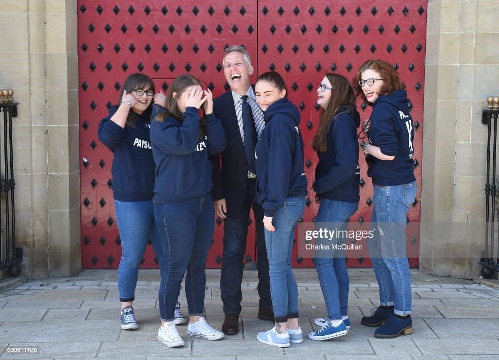 DUP Westminster candidate Ian Paisley Junior laughs as he is pictured with some of his election canvassers as the Democratic Unionist party launch their manifesto at the Old Courthouse on May 31, 2017 in Antrim, Northern Ireland. Candidates for the general election face an uncertain campaign against the backdrop of Brexit, Northern Ireland provides the only hard border between the UK and Europe and also the Stormont Assembly's ongoing stalemate due to the political deadlock between the local parties.