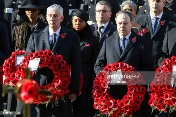 Westminster Democratic Unionist Party Leader Nigel Dodds and The Speaker of the House of Commons Sir Lindsay Hoyle attend the annual Remembrance...