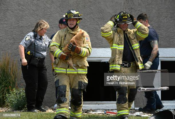 Westminster firefighter Nate Olson middle helps rescue a cat with the help of other firefighters from an apartment at the scene of a deadly apartment...