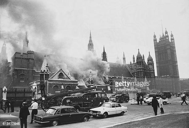 Westminster Hall on fire after the explosion of an IRA bomb at the House of Commons