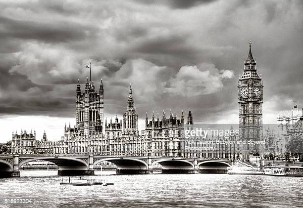 Westminster in Black and White Under Threatening Sky