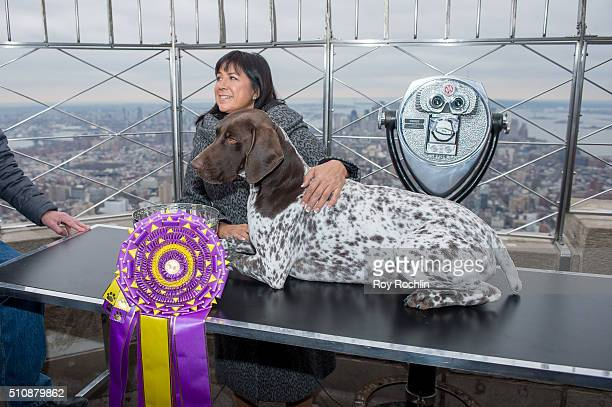 Westminster Kennel Club's Best In Show C.J. The German shorthaired pointer and Handler Valerie Nunes-Atkinson Visit The Empire State Building on...