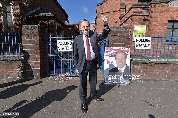 Westminster leader Nigel Dodds casts his vote at the Seaview Presbyterian church polling station on May 7, 2015 in Belfast, Northern Ireland. The...