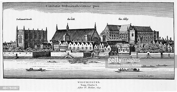 Westminster London viewed across the river from the south bank of the Thames showing Westminster Abbey Parliament and Westminster Hall After...