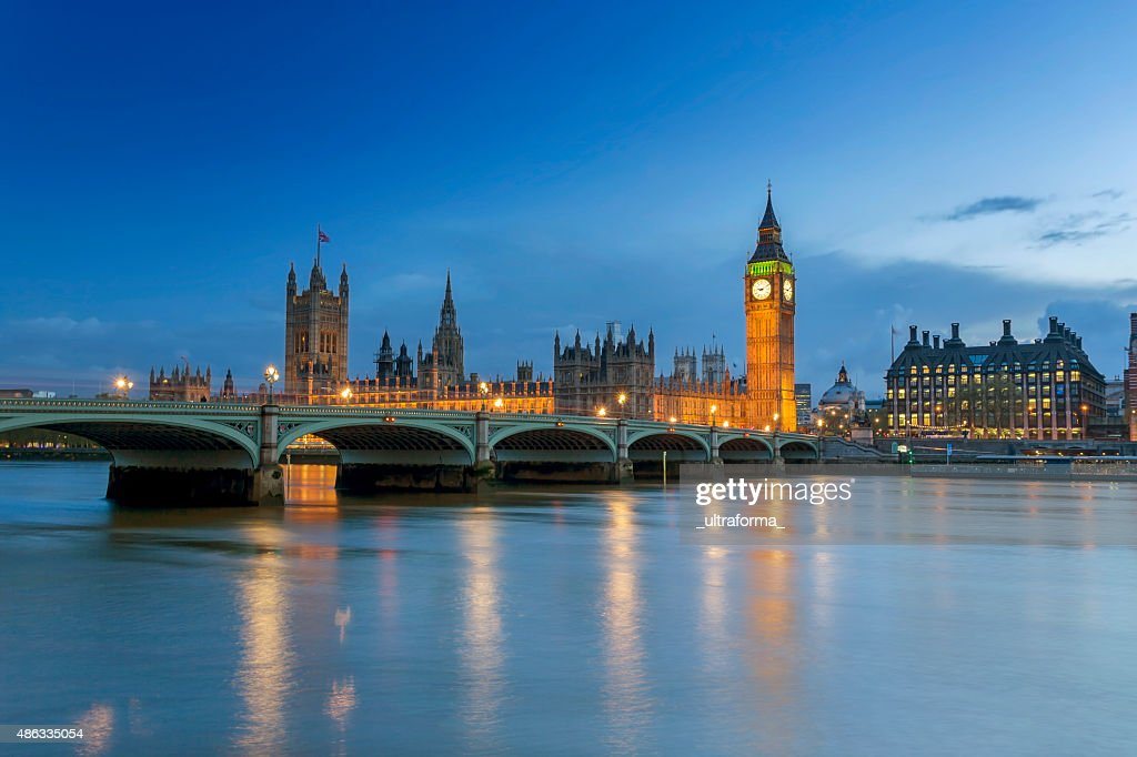 Westminster Palace in London at dusk : Stock Photo