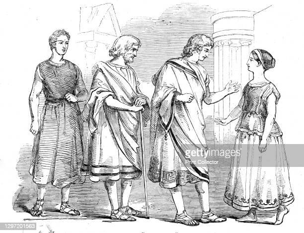"""Westminster School - scene from """"The Andria"""" of Terence, 1845. Public school production of an ancient Roman comedy, Act IV, Scene 11: 'Of the..."""