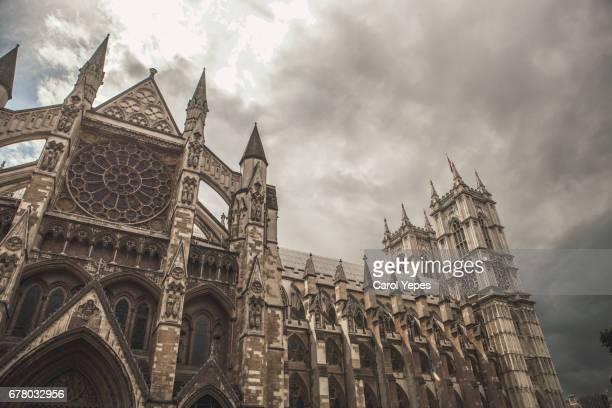 Westmister abbey against dramatic cloudy sky