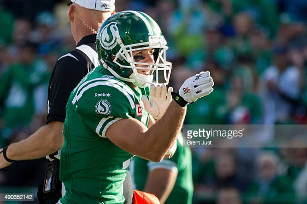 Weston Dressler of the Saskatchewan Roughriders celebrates a catch for a first down in the game between the Montreal Alouettes and Saskatchewan...