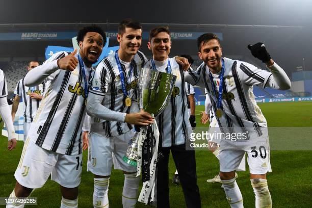 Weston McKennie, Alvaro Morata, Paulo Dybala and Rodrigo Bentancur of Juventus poses for a photo with the PS5 Supercup after the Italian PS5 Supercup...