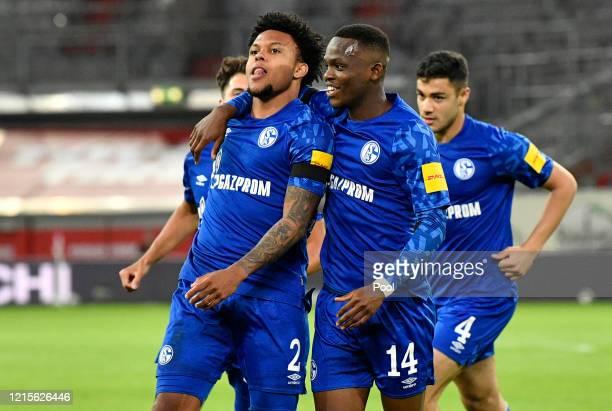Weston McKennie celebrates with Rabbi Matondo after scoring his team's first goal during the Bundesliga match between Fortuna Duesseldorf and FC...