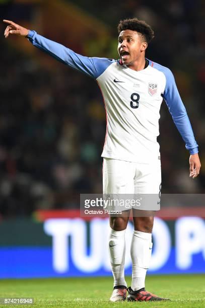 Weston McKennie in action during the International Friendly match between Portugal and USA at Estadio Municipal Leiria on November 14 2017 in Leiria...