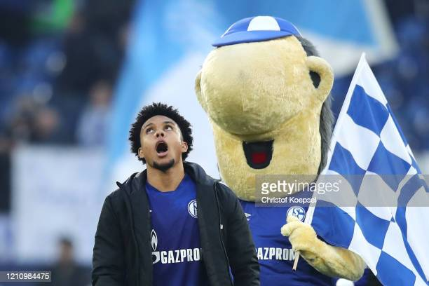 Weston McKennie of FC Schalke 04 reacts following the Bundesliga match between FC Schalke 04 and TSG 1899 Hoffenheim at Veltins-Arena on March 07,...