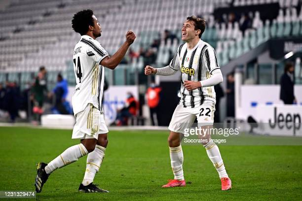 Weston McKennie of Juventus celebrates 0-3 with Federico Chiesa of Juventus during the Italian Serie A match between Juventus v Crotone at the...