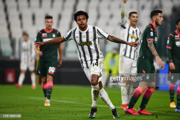 Weston McKennie of Juventus celebrates a goal during the Serie A match between Juventus and FC Crotone at Allianz Stadium on February 22, 2021 in...