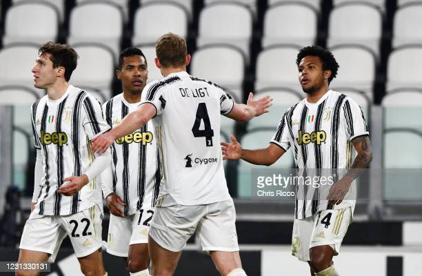 Weston McKennie of Juventus celebrates a goal with teammates during the Serie A match between Juventus and FC Crotone at Allianz Stadium on February...