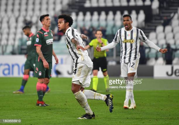 Weston McKennie of Juventus celebrates after he scores his teams third goal during the Serie A match between Juventus and FC Crotone at Allianz...