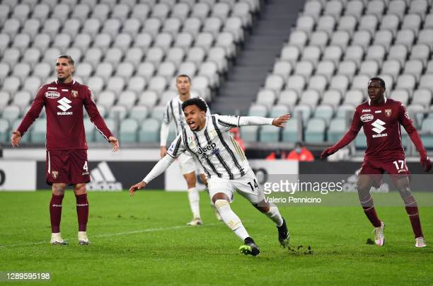 Weston McKennie of Juventus celebrates after scoring his team's first goal during the Serie A match between Juventus and Torino FC at Allianz Stadium...
