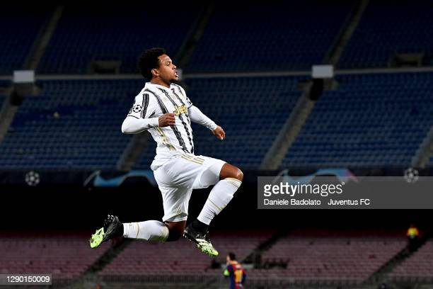 Weston McKennie of Juventus celebrates after scoring his team's second goal during the UEFA Champions League Group G stage match between FC Barcelona...