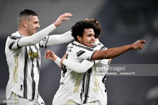 Weston McKennie of Juventus celebrates after scoring his team's third goal with teammates Federico Chiesa and Merih Demiral during the Serie A match...