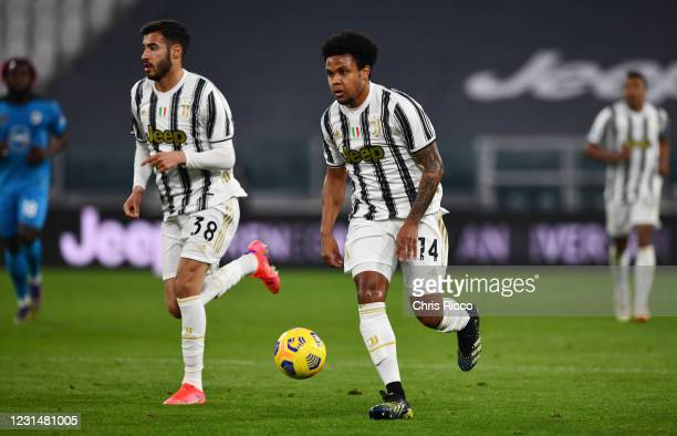 Weston McKennie of Juventus during the Serie A match between Juventus and Spezia Calcio at Allianz Stadium on March 2, 2021 in Turin, Italy.