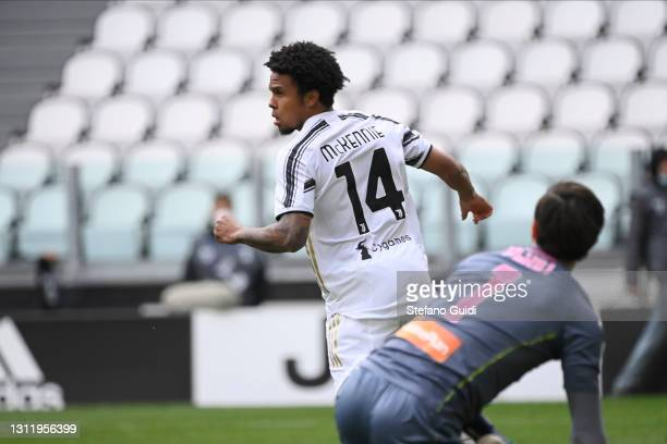 Weston McKennie of Juventus FC celebrates a goal during the Serie A match between Juventus and Genoa CFC at Allianz Stadium on April 11, 2021 in...
