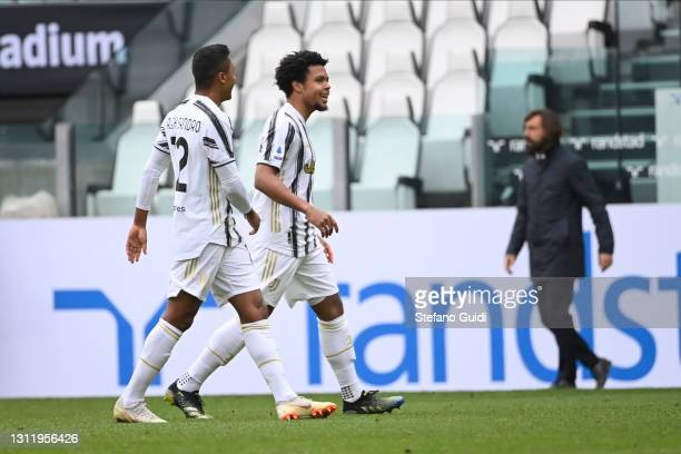 Weston McKennie of Juventus FC celebrates a goal with his teaml during the Serie A match between Juventus and Genoa CFC at Allianz Stadium on April...