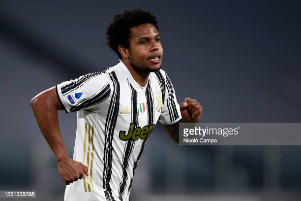 Weston McKennie of Juventus FC celebrates after scoring a goal during the Serie A football match between Juventus FC and FC Crotone. Juventus FC won...