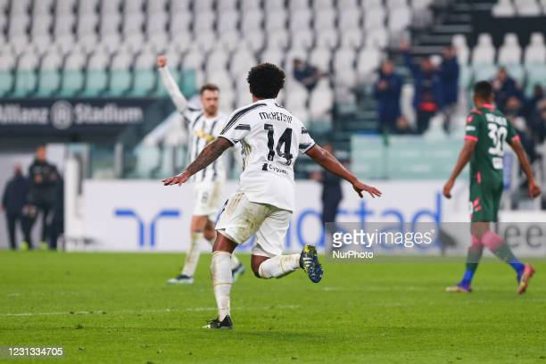 Weston McKennie of Juventus FC celebrates after scoring during the Serie A football match between Juventus FC and FC Crotone at Allianz Stadium on...