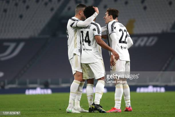 Weston McKennie of Juventus FC celebrates after scoring his team's third goal with team mates during the Serie A match between Juventus and FC...