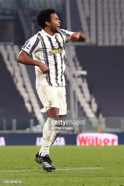 Weston McKennie of Juventus FC celebrates after scoring his team's third goal during the Serie A match between Juventus and FC Crotone at on February...