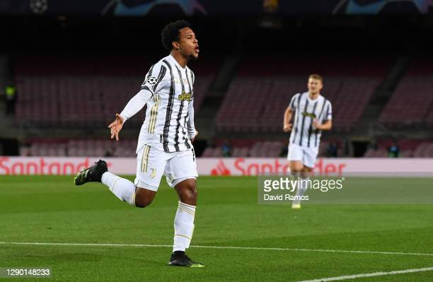 Weston McKennie of Juventus F.C. Celebrates after scoring their team's second goal during the UEFA Champions League Group G stage match between FC...