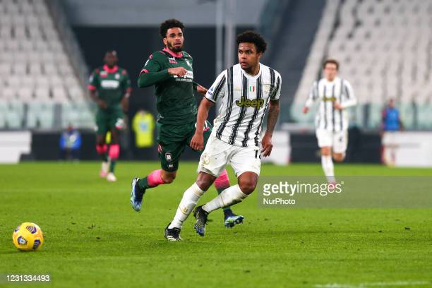 Weston McKennie of Juventus FC during the Serie A football match between Juventus FC and FC Crotone at Allianz Stadium on February 22, 2021 in Turin,...